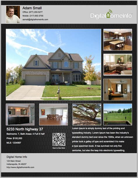 real estate listing flyer template real estate flyer inenx