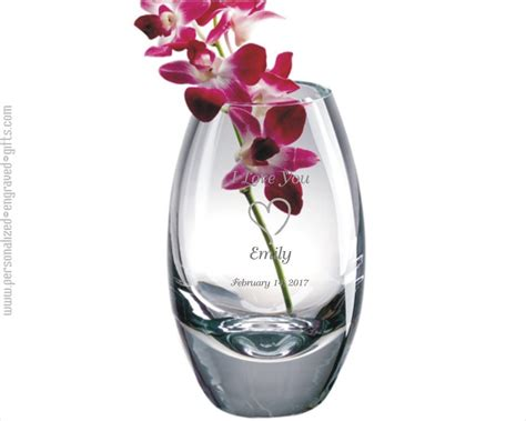 Personalized Vase by Engraved Glass Vases Personalized Etched Vases