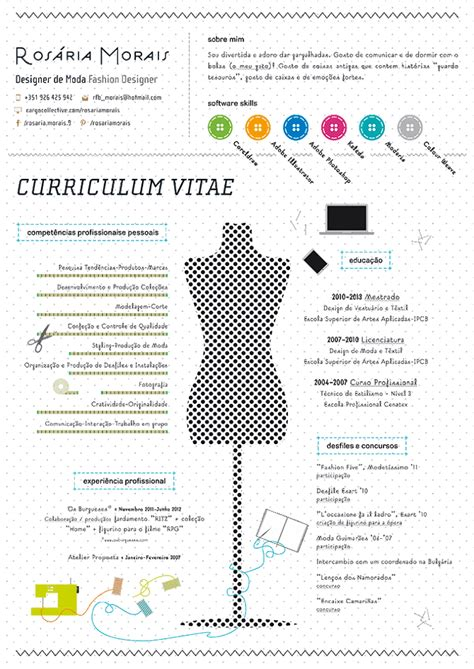 Mode Cv by Curriculum Vitae Ros 225 Ria Morais Fashion Designer
