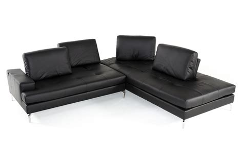 voyager sectional estro salotti voyager modern black leather sectional sofa