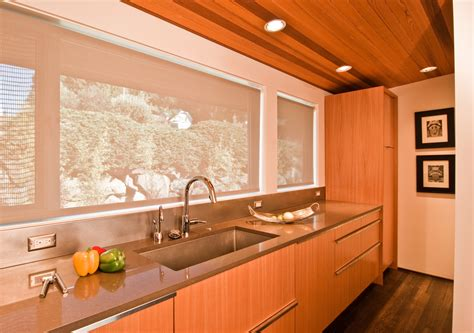 mid century kitchen ideas interior wall mirror with wood ceiling and recessed