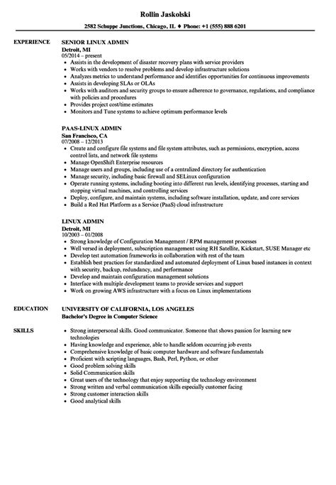 Resume Job In Linux by Linux Admin Resume Samples Velvet Jobs