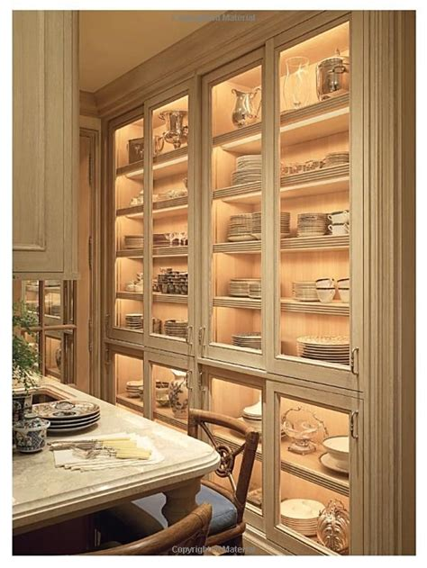 glass front cabinets  interior lights  china