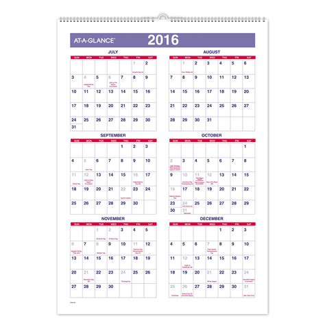 6 best images of monthly calendar 2015 2016 printables monthly wall calendar wall calendar academic calendar