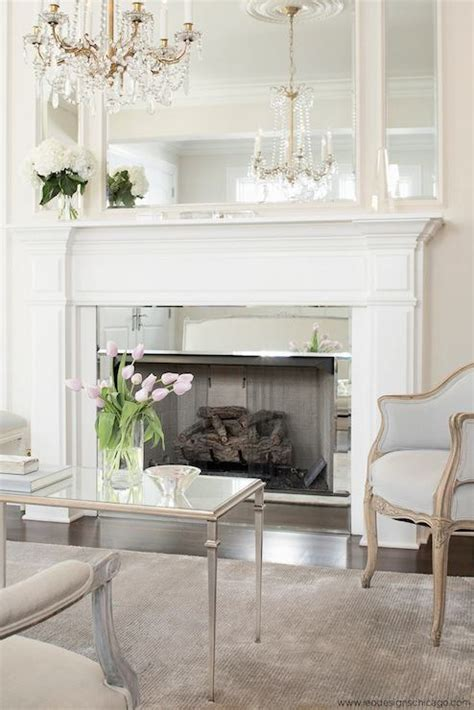 mirrored fireplace surround french living room leo