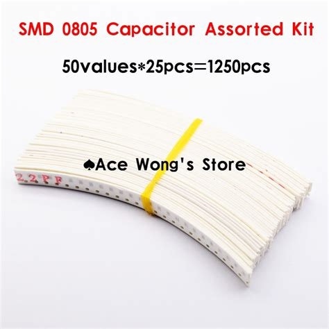 0805 smd capacitor kit 0805 smd ceramic capacitor assorted kit 1pf 10uf 50values 25pcs 1250pcs chip ceramic capacitor