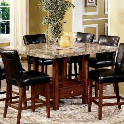 Dining Room Kitchen Tables by Steve Silver Montibello Marble Top Counter Height Storage