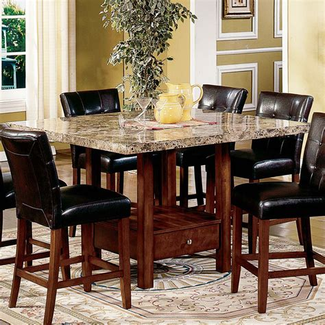 Dining Room Tables With Marble Top Steve Silver Montibello Marble Top Counter Height Storage Dining Table At Hayneedle