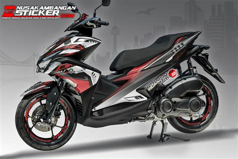 decal aerox black grafis merah putih nusakambangan sticker nusakambangan sticker