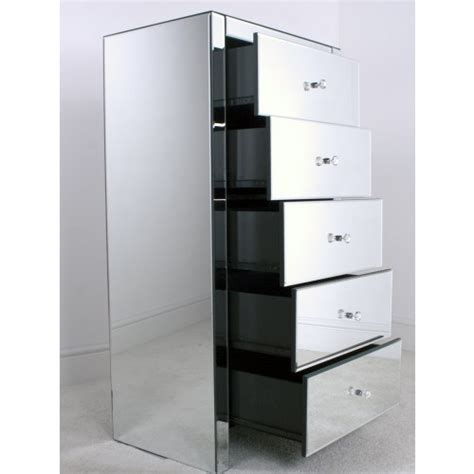 Mirrored 5 Drawer Tallboy, Mirrored Chest of Drawers