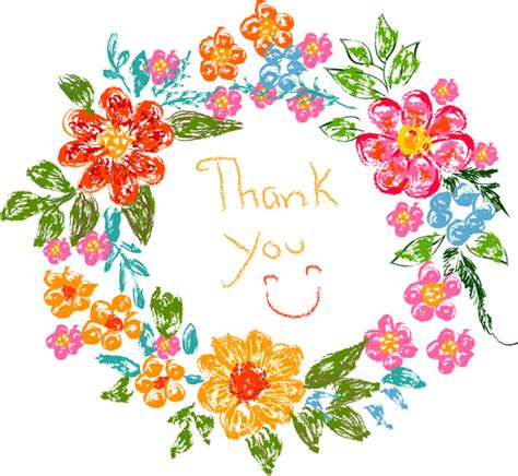 thank you card template with flowers flower frame thank you card free vector in adobe