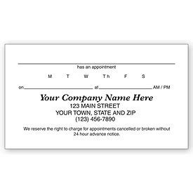 appointment cards design templates appointment cards 1 sided vellum stock appointment