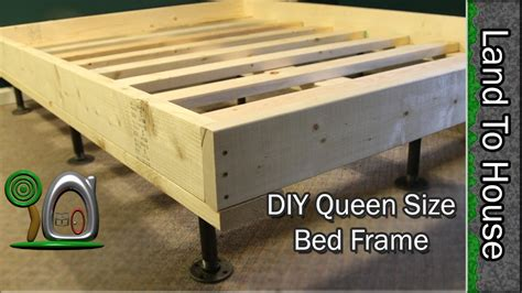diy queen bed frame queen size bed frame diy youtube