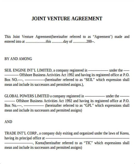 joint venture agreement template pdf 10 sle joint venture agreement free sle exle