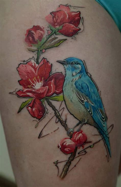 tattoo flower with birds thigh tattoos askideas com