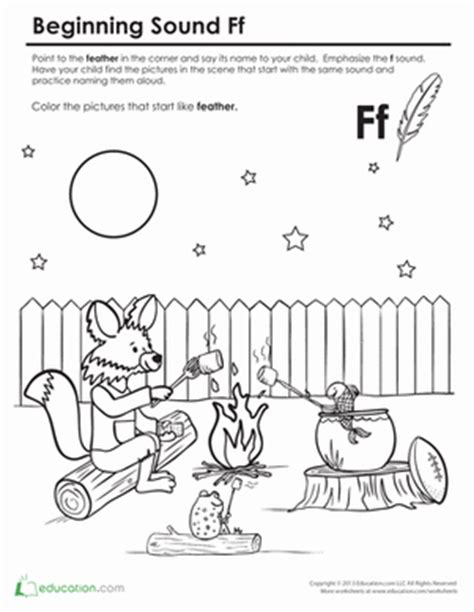 Beginning Sounds Coloring Sounds Like Fox Worksheet Sound Of Coloring Pages