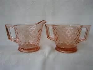 pink depression glass creamer and sugar pattern diamond