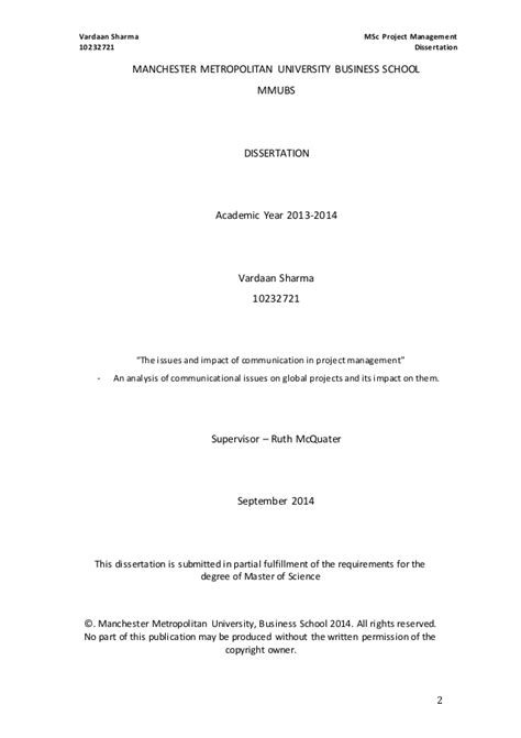 project management dissertation msc project management dissertation