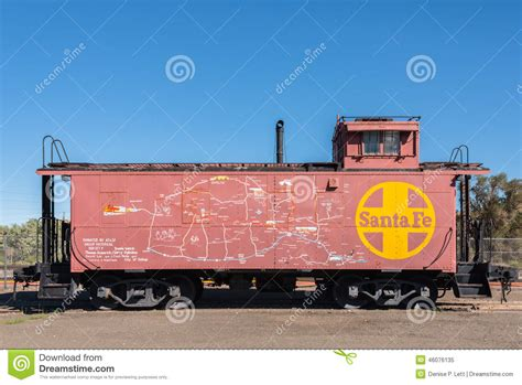 map of new mexico and arizona on santa fe caboose editorial image image 46076135
