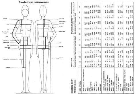 sewing pattern sizes body measurement chart sewing pinterest body