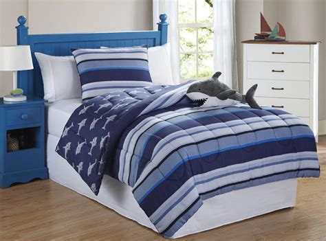 furry friends shark stripe 3 piece comforter set home