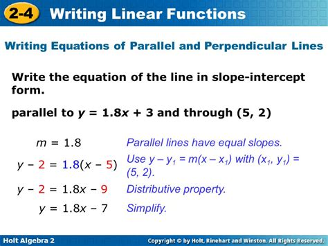Writing Equations Of Parallel And Perpendicular Lines Worksheet by 2 4 Writing Linear Equations Answer Key Tessshebaylo