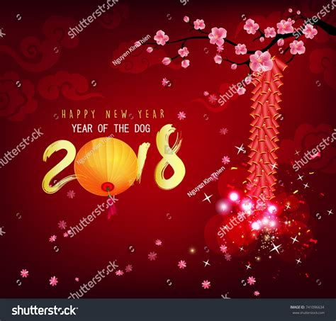 new year cherry blossom background happy new year 2018 greeting card stock illustration