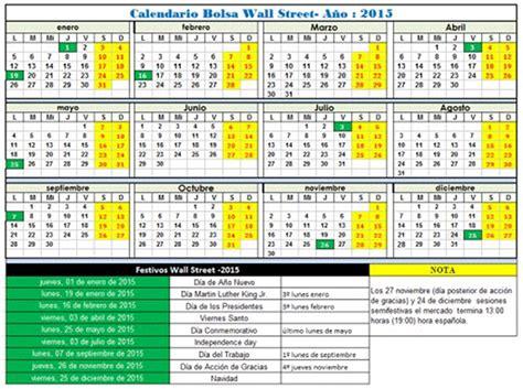 Calendario Semanal 2015 Horario De Los Principales Mercados Financieros Bolsa