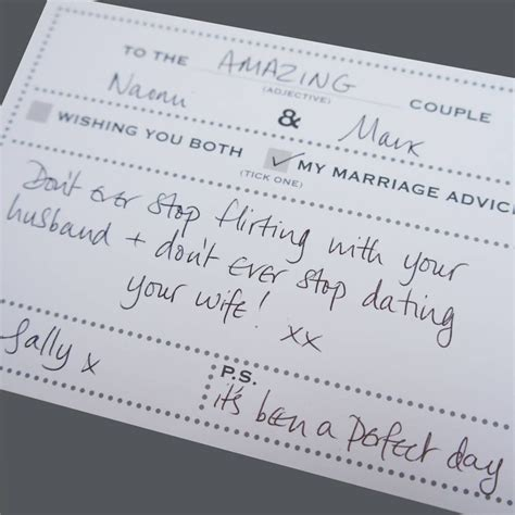 Pack Of 25 Wedding Advice Cards Dot Border Design