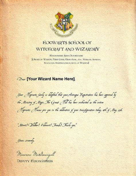 Acceptance Letter Receive every potterhead dreams of receiving a letter of