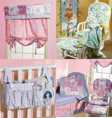 Crib Bedding Sewing Patterns Nursery Bedding Pattern Quilt Bumper Sheet Crib Skirt Stacker Rocker Cushion Baby Room 4855