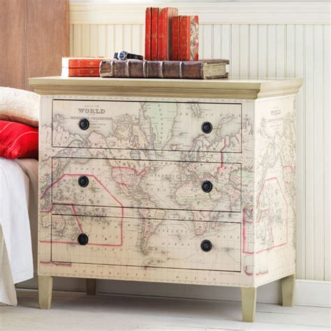 How To Decoupage A Dresser - decoupage map wallpaper dressers map decor