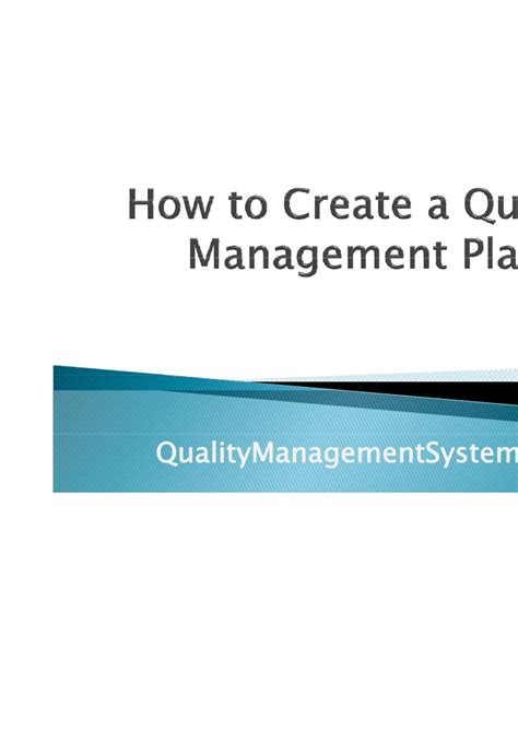 A Beginners Guide To Quality Management How To Create A Quality Management Plan