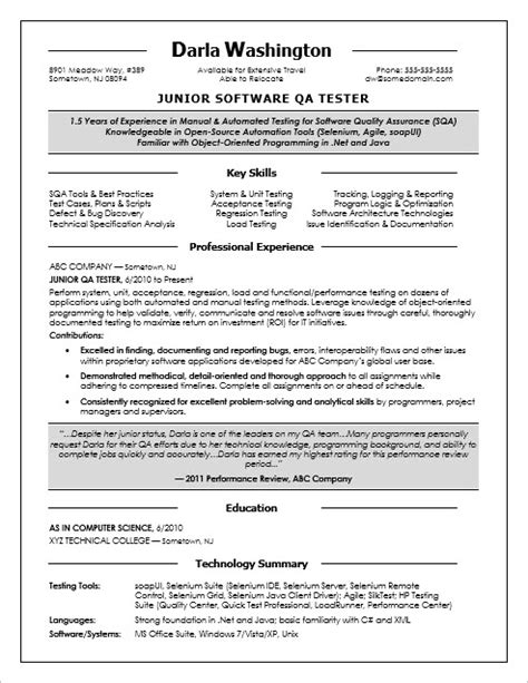 qa tester resume sles entry level qa software tester resume sle