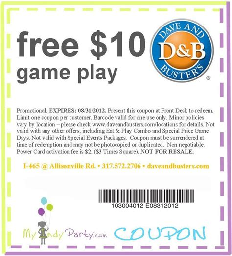 dave and busters printable food coupons awesome dave buster s coupon http www pinterest com
