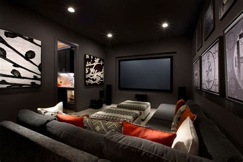 small media room ideas fantastic small media room ideas with black leather seats on