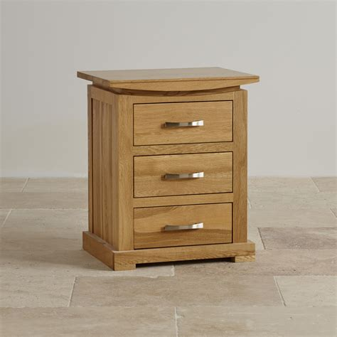 Bedside Table With Drawers Tokyo 3 Drawer Bedside Table In Solid Oak Oak Furniture Land