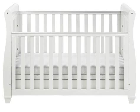 babymore sleigh cot bed dropside with drawer white