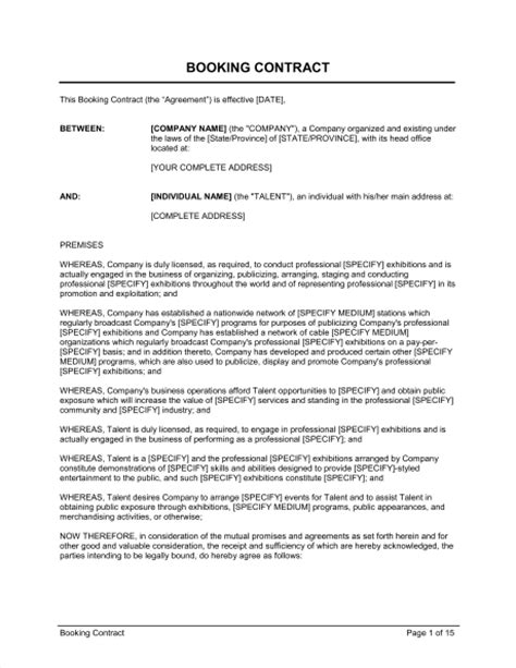 acting contract template booking contract template sle form biztree