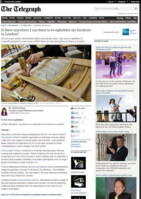 upholstery courses online the telegraph touts upholstery courses