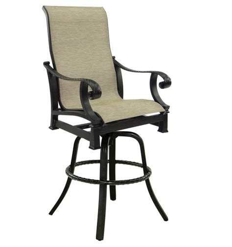 high back swivel bar stools bellagio high back sling swivel bar stool castelle