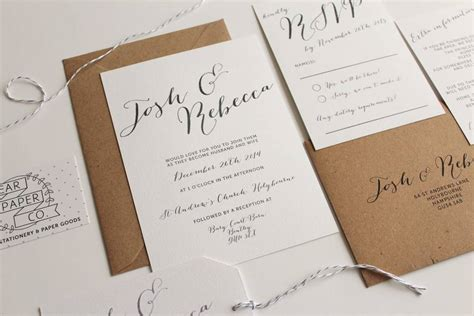 not on the high elegance wedding invitation calligraphy wedding invitation by pear paper co notonthehighstreet