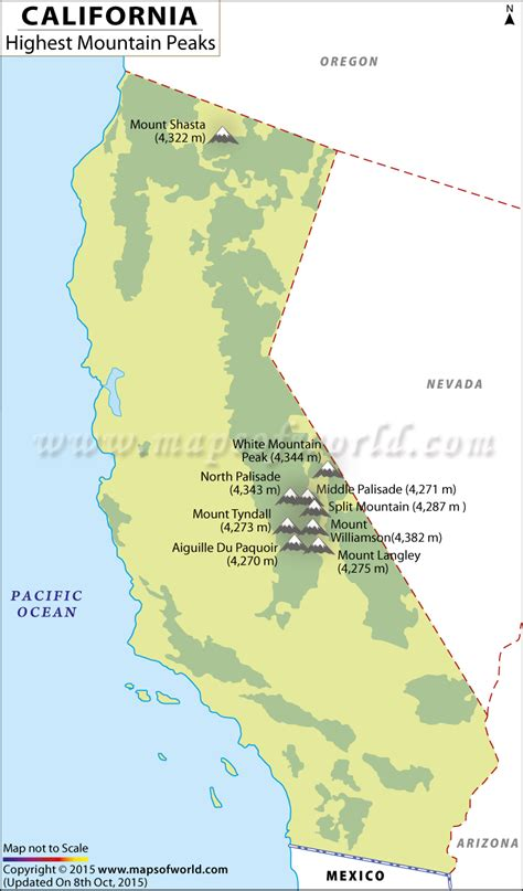 california mountain ranges map california map