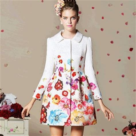 pink pattern coat 2014 spring new fashion fancy coats for women medium long