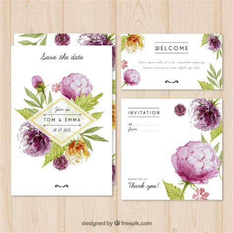Wedding Card Freepik by Watercolor Wedding Invitation With Flowers Vector Free