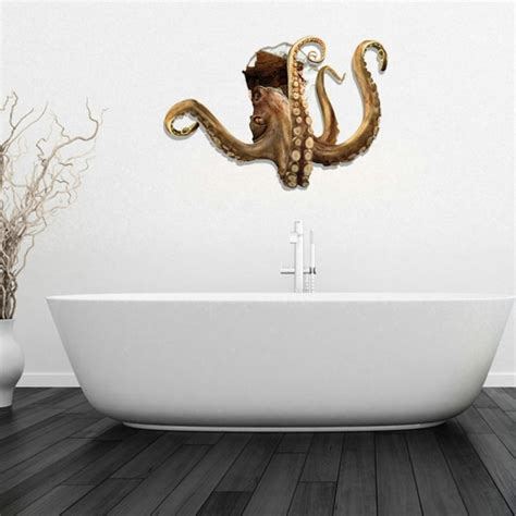 octopus in bathtub 3d octopus removable bathroom art stickers 83 7 x 58 x 0