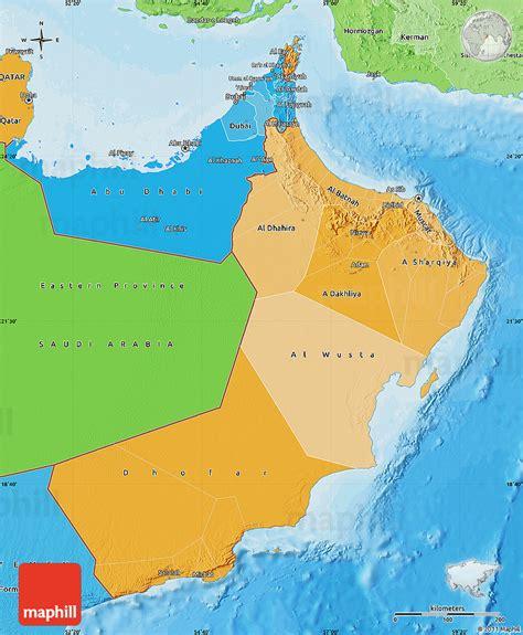 oman political map political shades map of oman