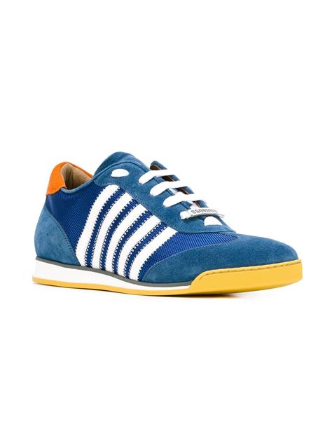 Sneakers Kets Stripe 2 Terlaris dsquared 178 striped sneakers in blue for lyst