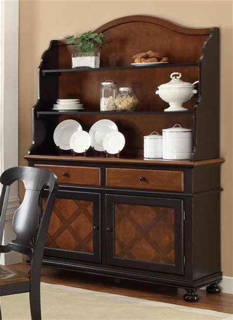 classic two toned kitchen buffet multiple finishes connor buffet hutch in two tone tobacco and black finish