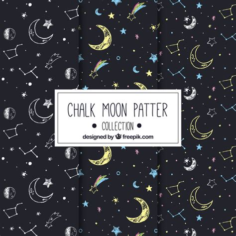 pattern moon drawing great moon patterns with drawings vector free download